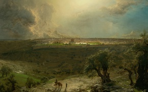 Picture landscape, the city, picture, panorama, Frederic Edwin Church, The view of Jerusalem from the mount …