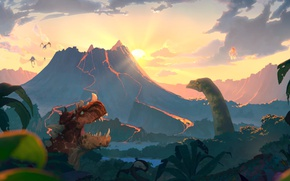 Picture the sun, clouds, the volcano, jungle, art, dinosaurs, clouds, sun, dinosaurus, volcano, Hearthstone, Hearthstone, a …