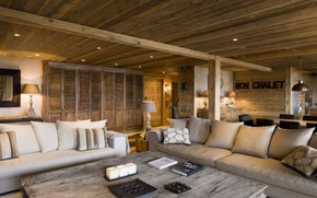 Picture tree, interior, living room, Chalet