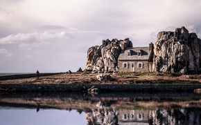 Picture house, rocks, island, Iceland
