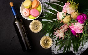 Picture flowers, wine, colorful, glasses, pink, flowers, cakes, sweet, purple, macaroon, french, macaron, macaroon
