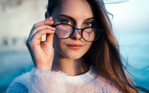Picture girl, Model, long hair, brown hair, photo, blue eyes, bokeh, lips, face, brunette, glasses, portrait, …