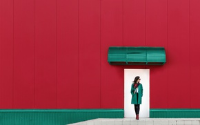 Picture girl, wall, the door, Red and green