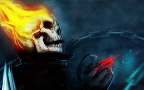 Picture fire, skeleton, Ghost rider, comic