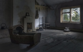 Picture room, window, the cradle