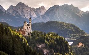 Wallpaper Alps, locks, Hohenschwangau Castle, Castle Hohenschwangau, castle, Neuschwanstein Castle, Neuschwanstein Castle, Germany, Bavaria, Germany, mountains, ...