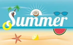 Wallpaper summer, vector, postcard