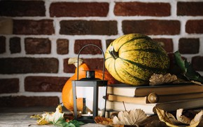 Picture autumn, leaves, tea, books, pumpkin, drink