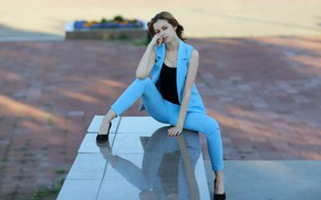 Picture look, legs, sponge, trousers, Murat Kuzhakhmetov, Portrait of a beautiful young girl