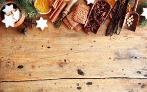 Picture orange, cookies, Christmas, New year, cinnamon, vanilla, New Year, Merry Christmas
