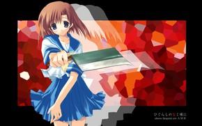 Picture blade, schoolgirl, Higurashi no Naku Koro ni, killer, art, cleaver, When the cicadas cry, Rena …