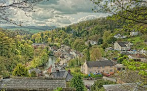 Picture landscape, river, England, home, Matlock Dale