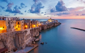 Wallpaper sea, lights, home, Italy, Cape, Apulia, Vieste