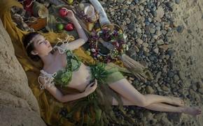 Wallpaper sand, beach, swimsuit, girl, flowers, pose, pebbles, stones, mood, stay, feet, apples, body, glass, sleep, ...