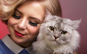 Picture cat, girl, smile, sponge
