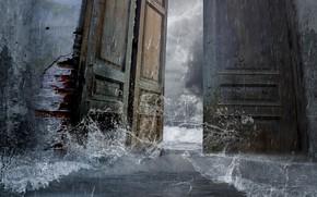 Picture wave, water, the door