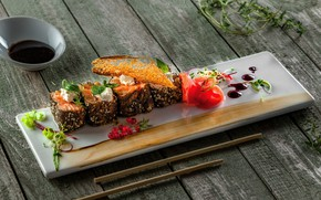 Picture food, fish, plate, sauce, wood, sushi, seafood