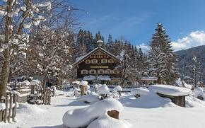 Picture winter, snow, trees, house, Austria, village, the snow, Austria, winter's tale, Filzmoos, Filzmoos