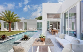Picture Villa, interior, pool, white, luxury, exterior