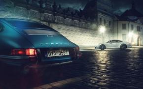 Picture 911, white, blue, street, porche, classic Porsche
