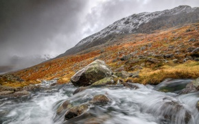 Picture clouds, mountains, river, stones, stream, Wales