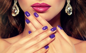 Picture girl, face, red, fashion, lips, face, manicure, hand, nail, cosmetics, makeup, photographer Edward Derule