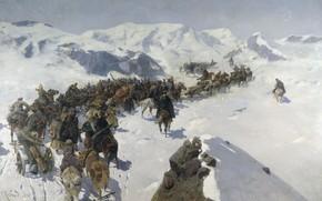 Picture oil, Canvas, Franz ROUBAUD, Transition Prince Argutinsky through the Caucasian ridge