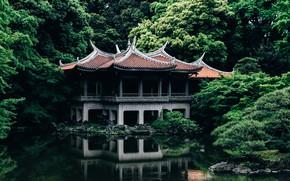 Wallpaper Nature, Lake, Trees, Japan, Tokyo, Temple, Architecture, Shinjuku Gyoen old Goryotei