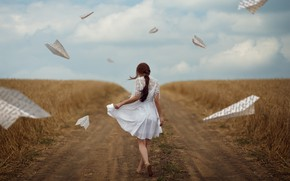 Picture road, field, girl, mood, paper airplanes, Monica Lazar