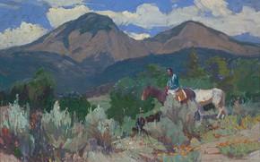 Picture mountains, horse, Oscar Edmund Berninghaus, rplaca, Taos Mountain, Indian and