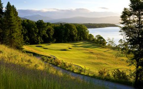 Picture road, greens, field, forest, grass, the sun, trees, mountains, lake, Scotland, Golf, Loch Lomond
