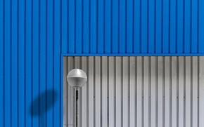 Picture blue, grey, wall, shadow, lantern