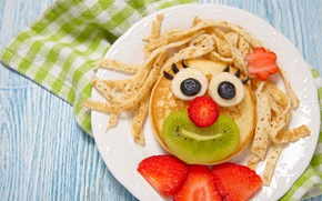 Picture Design, Strawberry, Plate, Kiwi, Food, Pancakes