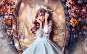 Picture girl, flowers, horns