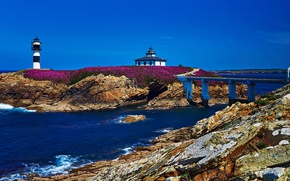 Picture sea, bridge, stones, shore, lighthouse, Sunny, Spain, blue sky, Isla Pancha