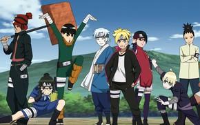 Picture game, Naruto, anime, boy, 2018, ninja, manga, shinobi, hitaiate, genin, montain, Uchiha Sarada, Uzumaki Naruto, ...