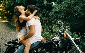 Picture girl, passion, motorcycle, guy