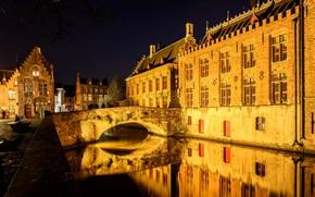 Wallpaper Bruges, Belgium, home, night, bridge, channel, lights