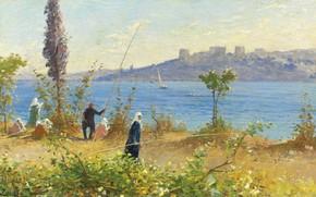 Picture landscape, picture, Fausto Zonaro, Fausto Zonaro, Concubines Fish on the Bosphorus