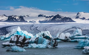 Picture North, mountains, ice, winter, shore, sea, iceberg, clouds, glacier, snow, ice, blue, tops, Greenland, ice, ...