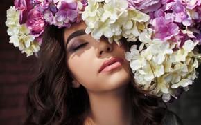 Picture flowers, face, mood, makeup, hydrangea, closed eyes, Aliya, Vadim Mironov
