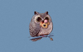 Picture owl, hopelessness, blood, the victim, mouse, art, owl, Alex Solis, food chain