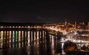 Picture night, the city, lights, Washington, Key Bridge