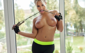 Wallpaper chest, look, pose, model, makeup, figure, piercing, window, hairstyle, blonde, gloves, Nude, is, fitness, sexy, ...