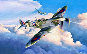 Picture fighter, British, aircraft, painting, Supermarine, Royal Air Force, WWII, Fw.190A, Spitfire Mk.Vb
