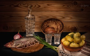 Picture bow, bread, potatoes, decanter, herring, vodka, still life