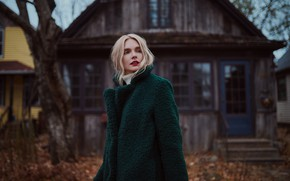 Picture girl, face, background, blonde, coat