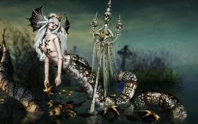 Picture sake, snake, monster, lamia, mythologic, by kynne