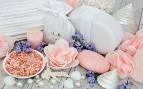Picture flowers, soap, shell, flowers, bath, still life, candle, spa, salt, seashells