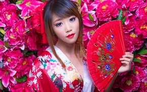 Picture girl, style, makeup, fan, Asian